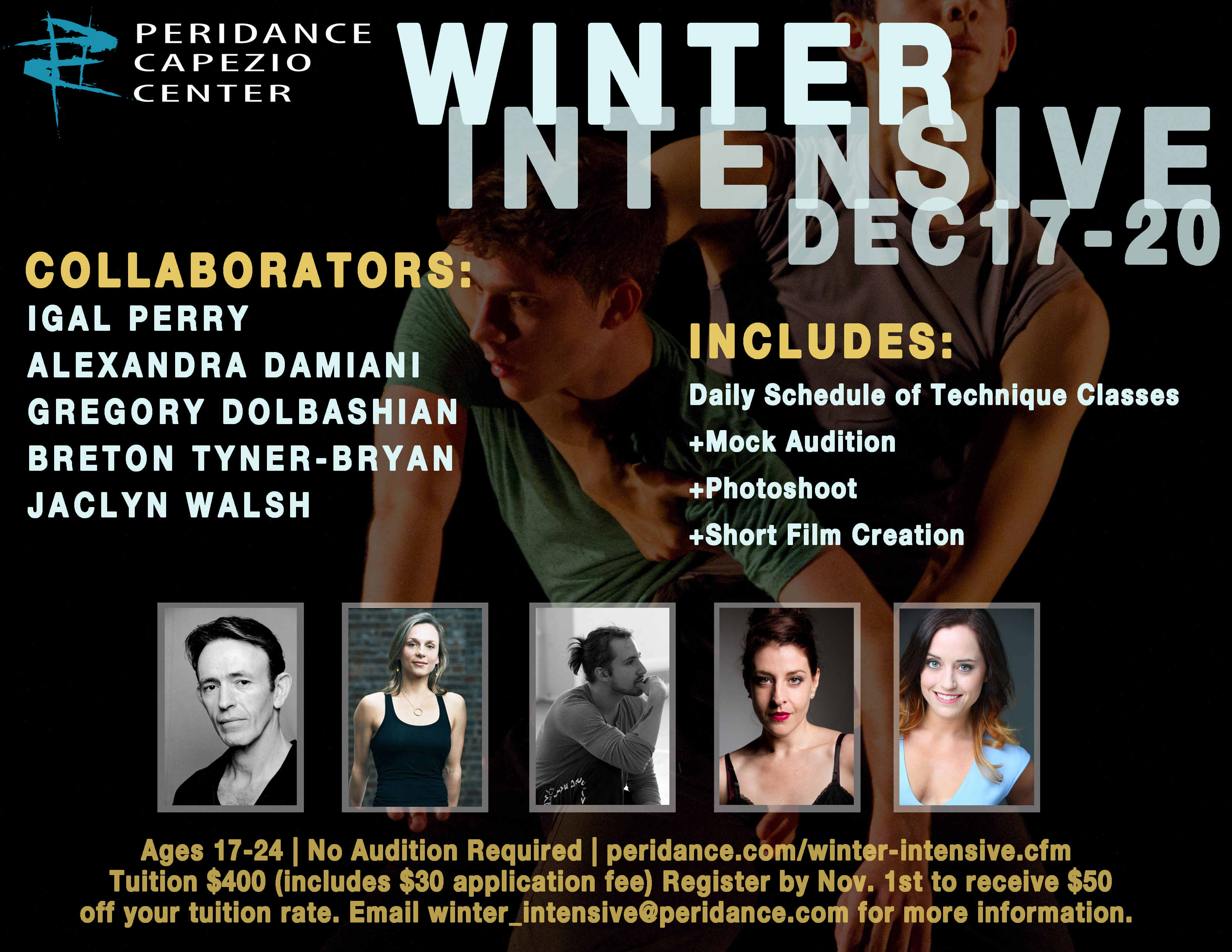 Winter intensive peridance capezio center designed to offer supplemental training during the winter season the peridance winter intensive invites students ages 17 24 to explore the teaching malvernweather Images